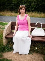 Pink & white (blackietv) Tags: casual pink white long skirt longskirt purse tgirl transvestite crossdresser crossdressing transgender outside outdoor
