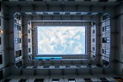 Blick in den Himmel - Look into the sky (ralfkai41) Tags: budapest hungary ungarn wolken architecture geometrical architektur building himmel geometrie rechteck gebude sky clouds
