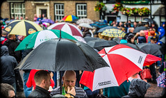 Umbrellas out. . .The Miners Gala 2016. Durham City, North East England, UK. (CWhatPhotos) Tags: umbrella umbrellas with containing rainy cloudy overcast day camera photographs photograph pics pictures pic picture image images foto fotos photography artistic that have which contain canon 5d mk iii lseries zoom lens digital cwhatphotos durham city north east england miner miners big meeting gala bigmeeting minersgala saturday july 2016 09th people political politics march marching bands brass num national unions union mine workers pit pitman pitmen pits mines