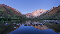 Convict Lake Sunrise (David Colombo Photography) Tags: blue trees sky mountain lake reflection green water sunrise landscape twilight nikon rocks outdoor bluehour sierranevada d800 convictlake davidcolombo davidcolombophotography