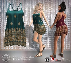 Petite Mort- Henna slip dress (Petite Mort- Outfitting the modern bohemian) Tags: sl second life fashion event tres chic boho bohemian glam summer sundress mesh slink maitreya fitmesh classic ethnic moroccan indian petite mort petitemort