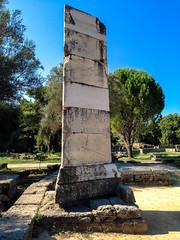 Nike of Paionios plinth, Olympia (Andy Hay) Tags: 2016 ancientolympia archeaolimpia elis greece lightroom nike nikeofpaionios olympia paeonius pillar plinth triangular ilia peloponnisosdytikielladakeionio