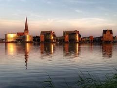 Warnowufer Stadtblick Rostock (dirklie65) Tags: rostock hansestadt mvp mecklenburgvorpommern ufer stadt city warnow night abend abendstimmung kirchturm spiegelung reflection aida building