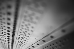 Coefficient of Drag (belleshaw) Tags: blackandwhite marchairmuseum airplane wing screws metal rust underside detail bokeh