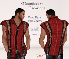 Muse Mens Vest Cherry Ad Pic (moonlitecat) Tags: hunt your inner slut moonlitecat creation mesh slink belleze maitreya fimesh rigged high heel collar gacha spikes leather punk skirt haltertop halter top laced vest mens men women womens moon moonlite hudded texture change