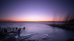 Enter the lake (jarnasen) Tags: longexposure sunset sky lake color reed nature water landscape evening colorful mood sweden outdoor dusk tripod le sverige trailer settingsun landskap stergtland ndfilter roxen lakescape naturbild leefilters nd10 ekngen fujifilmxt1 samyang12mmf2 ndgrad06s