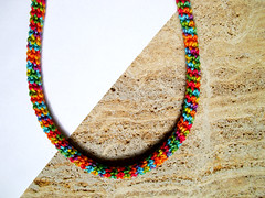 Jungle (LindaLejn) Tags: pink blue red sea summer sun green fashion yellow modern necklace spring rainbow colorful handmade turquoise unique ooak crochet tube violet craft jewelry rope gifts fabric cotton gift trendy statement accessories etsy fiberart fiber multicolor choker multicolour ecofriendly accessory aquablue crochetjewelry ropenecklace crochetrope tubenecklace fiberartnecklace lindalejn