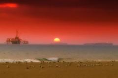 Sunset is Contained (/\ltus) Tags: ocean california sunset seagulls beach lumix panasonic pacificocean socal southerncalifornia orangecounty containership oc huntingtonbeach theoc oilplatform beachbreak surfcityusa nothdr dmclx5
