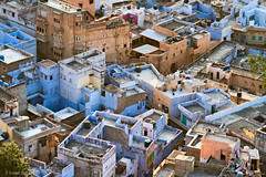 Jodhpur Rooftops (Irene Becker) Tags: street travel sunset india architecture evening countryside cityscape rooftops fort outdoor traditional dust rajasthan jodhpur imagesofindia bluecity northindia mehrangarhfort incredibleindia indianimages irenebecker irenebeckereu jodhpurrooftops