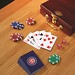 Chicago Cubs poker chips and cards set with case