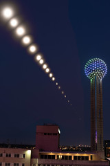 Orbs (Sergio Garcia Rill) Tags: usa moon night eclipse dallas timelapse downtown texas unitedstates orb places astrophotography astronomy sequence orbs lunar moonset bloodmoon reuniontower 2015