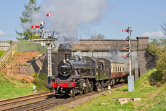 IMG_1961 (Kev Gregory) Tags: road bridge heritage work is day weekend no leicester great north central first railway 18th here class steam event hauling april service locomotive gregory kev beneath seen railways loughborough passes mogul beeches 2015 gcr ivatt 46521 2mt 2a091045