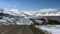 a place where riding a snow plough is quite a joy to be had (lunaryuna) Tags: road winter light panorama snow mountains landscape coast iceland spring solitude fjord isolation lunaryuna snowplough mountainrange longandwindingroad northiceland seasonalchange jobstolove lightmood northfjords