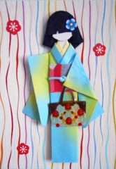 ATC1319 - Strings of coinfetti around her (tengds) Tags: pink flowers blue red white yellow atc artisttradingcard bag asian japanese confetti card geisha kimono obi multicolored origamipaper papercraft japanesepaper ningyo handmadecard chiyogami japanesepaperdoll origamidoll kimonodoll tengds nailornament