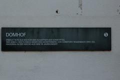 Hinweisschild - Hinweistafel am Domhof ( Erbaut 1578 als Sitz fr den Schaffner des Domstiftes ) in der Altstadt - Stadt Basel im Kanton Basel Stadt der Schweiz (chrchr_75) Tags: hurni christoph schweiz suisse switzerland svizzera suissa swiss chrchr chrchr75 chrigu chriguhurni chriguhurnibluemailch juli 2016 juli2016 albumstadtbasel baselstadt stadtbasel kantonbaselstadt stadt city ville  by  citt  stad ciudad