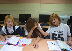 North korean teens defectors in yeomyung school, National capital area, Seoul, South korea (Eric Lafforgue) Tags: school people college students horizontal laughing computer asian togetherness education asia sitting friendship classroom refugees teenagers happiness computers books class indoors together seoul learning educational lesson cheerful southkorea comrade studying enjoyment northkorea youthculture youngwomen 3people schoolroom threepeople colorimage defectors northkorean escaper asianethnicity nationalcapitalarea colourpicture escapers yeomyung sk162299