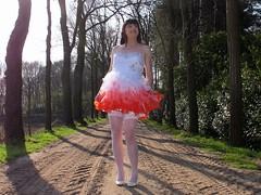 Stocking tops (Paula Satijn) Tags: road trees red white hot sexy stockings girl smile sunshine fun outside dress legs girly feminine joy skirt tgirl heels gown miniskirt gurl stockingtops