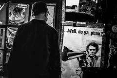 Well, Do Ya, Punk? (darren.cowley) Tags: california santabarbara night cool comedy silhouettes streetphoto shopwindow statestreet clinteastwood dirtyharry welldoyapunk darrencowley