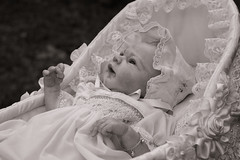Old fashioned Baby :) (earthly magic 11) Tags: baby doll smocking lace bassinet crib basket moses white pure innocence love bonnet cradle bracelet frills frilly smocked dress fingers light
