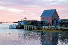 NS-01359 - Dorothy-Leah (archer10 (Dennis) 78M Views) Tags: sony a6300 ilce6300 18200mm 1650mm mirrorless free freepicture archer10 dennis jarvis dennisgjarvis dennisjarvis iamcanadian novascotia canada stonehurst sunrise boat fishing reflections lobster traps wharf shacks lighthouseroute southshore boats cove