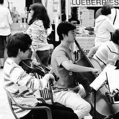 IMG_20160717_063120 (rollwithkings) Tags: blackandwhite musician music monochrome kids farmersmarket violin cello strings ensemble bnw