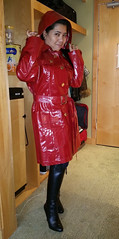 Burberry Coat with Edgy Boots (johnerly03) Tags: erlyphilippinesfilipinaasiancoathighheelblackleatherbootslonghair burberry raincoat red hood shiny