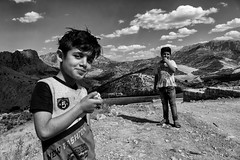Children (Saman A. Ali) Tags: blackwhite blackandwhite monochrome children mountains sky cluds documentary outdoor landscape people fujifilm fujifilmxt1