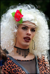 Portrait of a Queen (* RICHARD M (Over 5 million views)) Tags: candid street portraits portraiture candidportraits candidportraiture streetportraits dragqueen queen drag liverpoolpride gay lgbt wig platinumblondewig platinumblonde bleachedblonde leopardskin leopardskindress necklace transgender eatings bigearings largeearings makeup peals liverpool merseyside liverpudlians scousers europeancapitalofculture capitalofculture alternativelifestyles ott lippiercings camp minorities