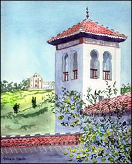 Mezquita del Albaicin (Dr Graham Beards) Tags: granada spain albaicin andalucia mosque townscape watercolor watercolour