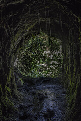 (18/62) Marcos y Cordero (ponzoosa) Tags: marcos cordero naciente canalizacin agua tunnel tunel water linterna raincoat lantern musgo cueva senderismo hiking palma islas canarias relative nomadism