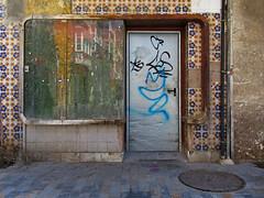 streets of cartagena (maximorgana) Tags: cartagena decayed derelict shopwindow green yellow reflection manhole plazadesanfrancisco sanfranciscosquare blue door metal pipeline