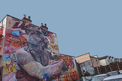 Message from the gods! (tim constable) Tags: upfest 2016 bristol bedminster streetart mural outdoor greek gods zeus apollo graffiti wall urban city scape view scene skyline terraced housing neighbourhood residential festival wip monument stone sculpture timconstable carlot display decoration decorate brightenup livenup inspiration large huge