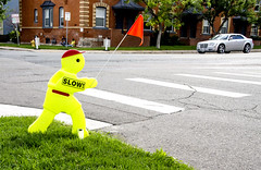 (photographyguy) Tags: denver colorado constructionzone costreduction slow intersection road crosswalk flag