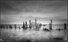 Spurn point : A winter morning (leebraithwaite99) Tags: clouds nature longexposure blur motion groin beach bw blackandwhite bnw landscape seascape water spurnpoint spurn