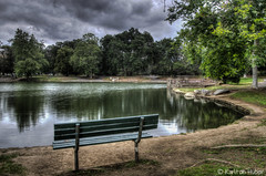 Irvine Regional Park - 5859_60_61_62_63 Tonemapped (www.karltonhuberphotography.com) Tags: park trees sky lake nature water horizontal clouds reflections bench landscape moody view relaxing peaceful calm lakeshore meditation southerncalifornia parkbench tranquil 2015 landscapephotography diffusedlight irvineregionalpark tonemapped creativeeffect karltonhuber