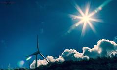 Points (Neil Hamilton Photography (Getty Contributor)) Tags: sky sun clouds fan blades windturbine starburst