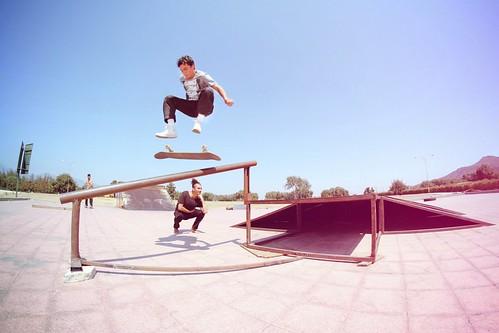 Kickflip over the rail