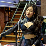 Sexy leather-clad motorbike presenter at the 36th Bangkok International Motor Show thumbnail