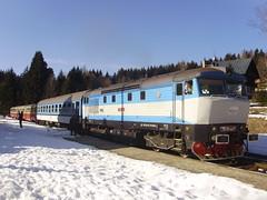 Kubova Hut (mostlybytrain) Tags: snow train track diesel cd rail railway railcar czechrepublic bohemia czechrailways