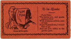 Yum Yum A La Mode Acquaintance Card (Alan Mays) Tags: old hot men vintage paper cards typography clothing women kissing funny humorous poetry comic yum gates antique humor 19thcentury victorian hats illustrations kisses ephemera clothes flirting type alamode amusing poems yumyum fonts scenes printed redhot borders typefaces balmy nineteenthcentury bonnets flirtation parodies 1870s rhymes callingcards escorts yumyums zephyrs gardengates 1878 invitationcards escortcards visitingcards acquaintancecards flirtationcards