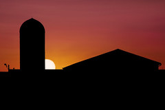 Farm Sunset (Elliotphotos) Tags: sunset ohio sun silhouette barn university state farm barns silhouettes sunsets silo osu columbusohio farms silos elliot theohiostateuniversity waterman ohiostate ohiostateuniversity gilfix elliotphotos watermanfarm elliotgilfix