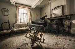 The magic of the music seems to light the way! (marco18678) Tags: world old light urban abandoned beautiful lost photography mirror chair nikon fireplace europe belgium natural decay exploring piano eu naturallight chandelier forgotten mysterious d750 lonely tamron maison decayed urbanexploring ue urbex 1530