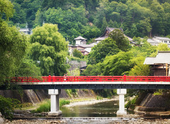 RED BRIDGE OF TAKAYAMA (ARTCHAWIN PREMPRASONG) Tags: bridge summer nature japan takayama gifu
