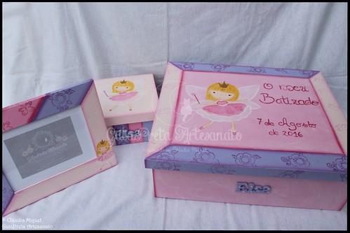 """Caixa grande de batizado, caixa de recordações de bebé e moldura """"Fada Elsa"""""""