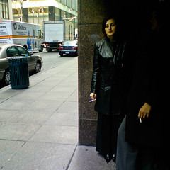 smoking break (-{ ThusOriginal }-) Tags: street nyc color building face car digital women smoking d900 sghd900