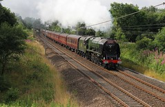LMS Stanier 8P No. 46233 'Duchess of Sutherland' with RTC & WCR 1Z62 'Cumbrian Mountain Express' approaches Bridge 60A at Standish 12 late on the West Coast Main Line on a sunny Summer Saturday 23rd July 2016.  (steamdriver12) Tags: lms stanier 8p no 46233 1z62 rtc railway touring company wcr west coast railways cumbrian mountain express cme approaches bridge 60a standish main line wcml sunny summer 23rd july 2016 steam smoke coal oil heritage traction locomotive preserved duchess sutherland