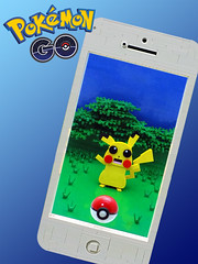 Pokemon Go (cmaddison) Tags: lego pokemon pokemongo pikachu pokeball iphone nintendo niantic mobile app toy