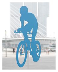 Into the blue (leo.roos) Tags: rotterdam dyxummeet paul paulemans snegren meyerprimoplan7519 darosa leoroos a7rii july2016 bicycle fiets fietser cyclist blue blauw beeld sculpture derotterdamaverticalcity verticalestad remkoolhaas oma erasmusbrug