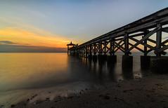 Bridge to sunset (narenrit) Tags: bridge water sea ocean sun travel tour wood sunset sand beach shadow sky cloud light