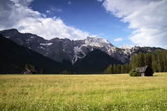 The Shovel of the Light on a Meadow (airSnapshooter) Tags: meadow landscape sky clouds sterreich sun tyrol tirol austria mountains cottage grass canoneos6d tamronspaf2875mmf28xrdildasphericalif shadow